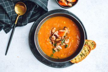 Batatų sriuba su jūros gėrybėmis